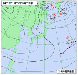 1月3日(金)9時の予想天気図