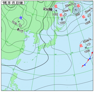 1月3日(金)15時の実況天気図