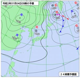 1月4日(土)9時の予想天気図