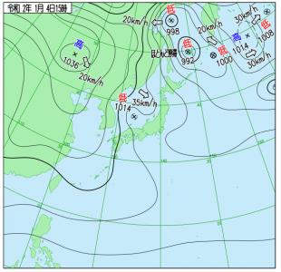 1月4日(土)15時の実況天気図