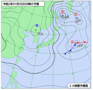 1月5日(日)9時の予想天気図