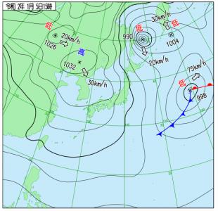 1月5日(日)15時の実況天気図
