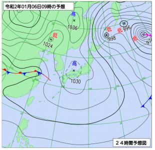 1月6日(月)9時の予想天気図
