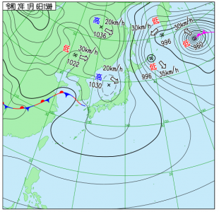1月6日(月)15時の実況天気図