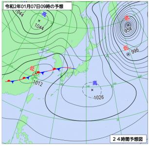 1月7日(火)9時の予想天気図