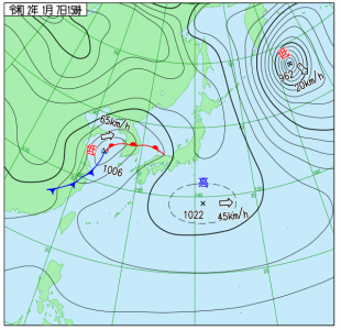 1月7日(火)15時の実況天気図