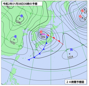 1月8日(水)9時の予想天気図