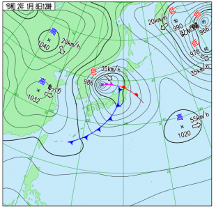 1月8日(水)12時の実況天気図
