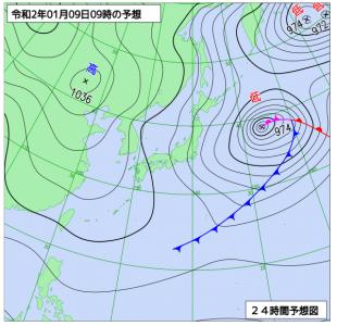 1月9日(木)9時の予想天気図