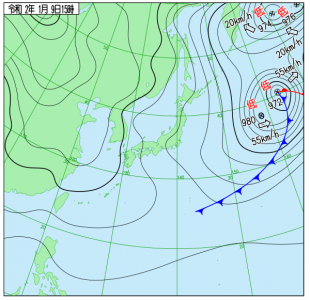 1月9日(木)15時の実況天気図