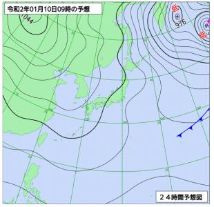 1月10日(金)9時の予想天気図