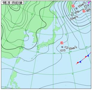 1月10日(金)15時の実況天気図
