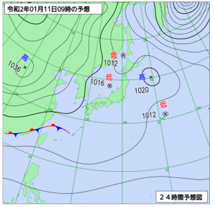 1月11日(土)9時の予想天気図