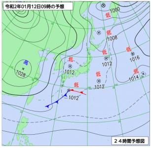 1月12日(日)9時の予想天気図