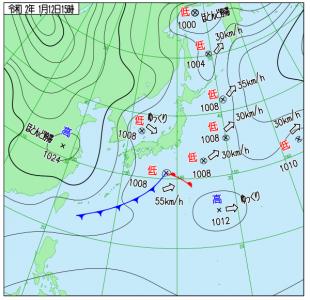 1月12日(日)15時の実況天気図