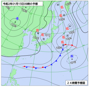 1月13日(月祝)9時の予想天気図