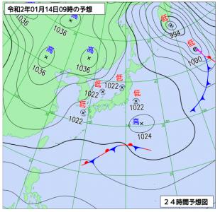 1月14日(火)9時の予想天気図