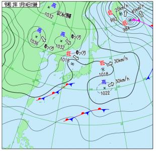 1月14日(火)15時の実況天気図