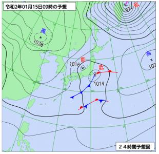 1月15日(水)9時の予想天気図