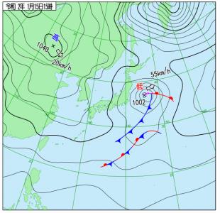 1月15日(水)15時の実況天気図