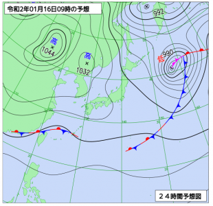 1月16日(木)9時の予想天気図