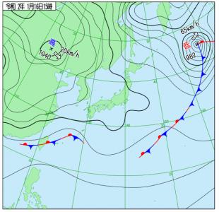 1月16日(木)15時の実況天気図