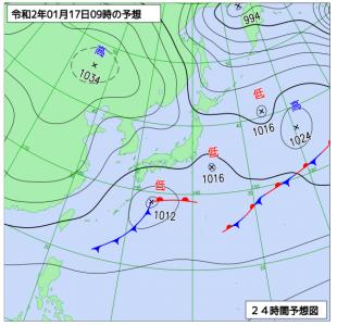1月17日(金)9時の予想天気図