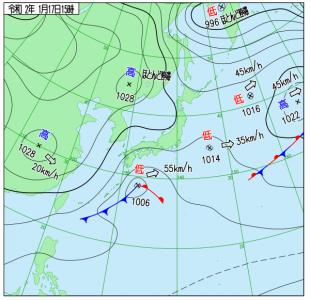 1月17日(金)15時の実況天気図