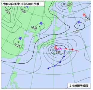 1月18日(土)9時の予想天気図