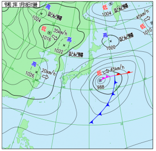 1月18日(土)15時の実況天気図