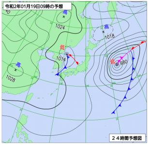 1月19日(日)9時の予想天気図