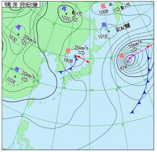 1月19日(日)15時の実況天気図