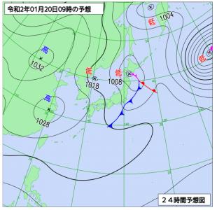 1月20日(月)9時の予想天気図