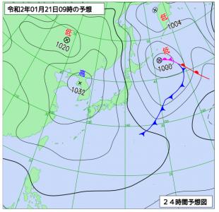 1月21日(火)9時の予想天気図