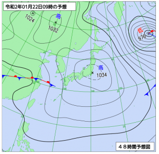 1月22日(水)9時の予想天気図