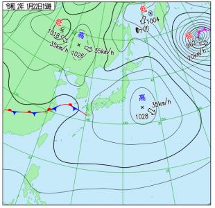 1月22日(水)15時の実況天気図
