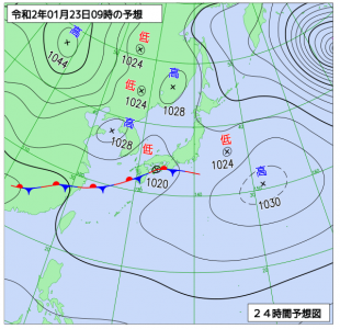 1月23日(木)9時の予想天気図