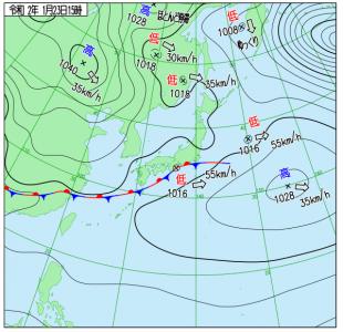1月23日(木)15時の実況天気図