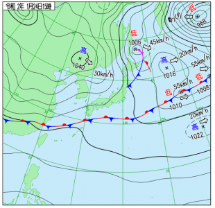 1月24日(金)15時の実況天気図