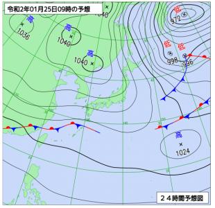 1月25日(土)9時の予想天気図