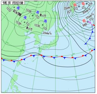 1月25日(土)15時の実況天気図