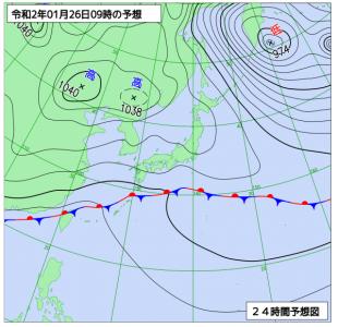 1月26日(日)9時の予想天気図