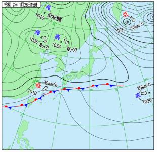 1月26日(日)15時の実況天気図