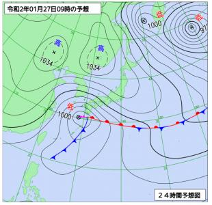 1月27日(月)9時の予想天気図