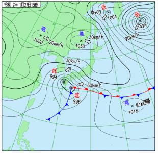 1月27日(月)15時の実況天気図