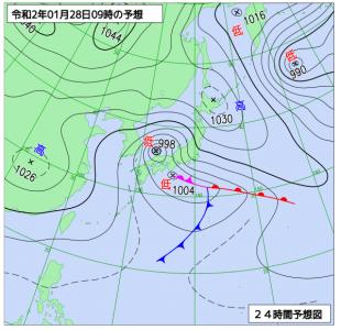1月28日(火)9時の予想天気図