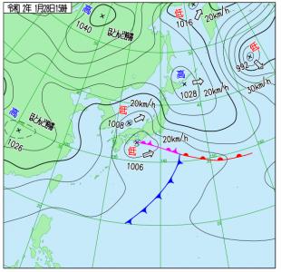 1月28日(火)15時の実況天気図