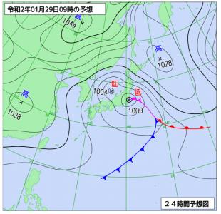 1月29日(水)9時の予想天気図