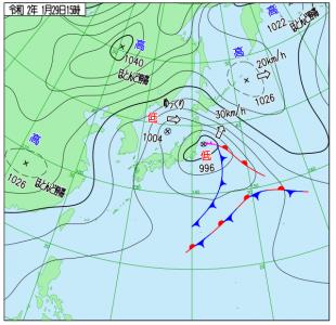 1月29日(水)15時の実況天気図