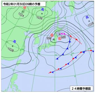 1月30日(木)9時の予想天気図